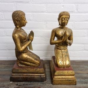 stel verguld bronzen Oosterse mediterende figuren. Hoogte 43 cm