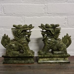 stel Chinees jade tempelleeuwen. Hoogte 17 cm