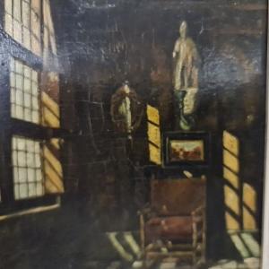 paneel, 17 x 13, 17e eeuws Hollands interieur, ongesigneerd