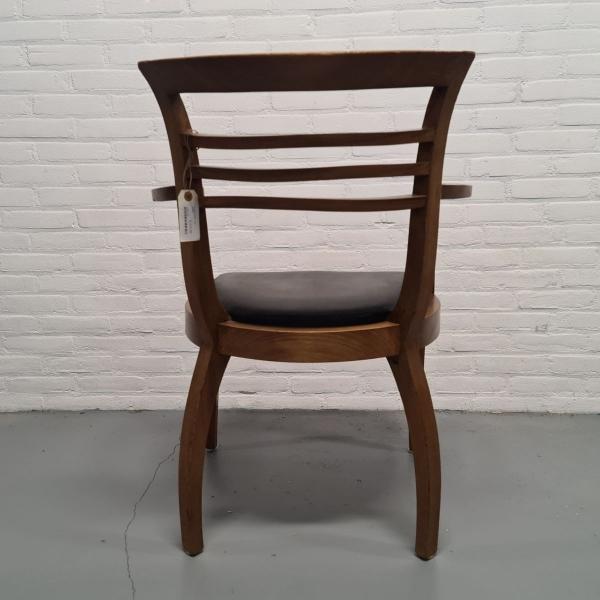 noten bureaustoel met lederen zitting