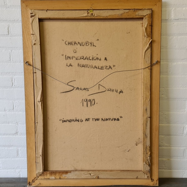 DOEK, 40 X 30, METAFYSISCHE SURREALISME, GESIGNEERD SALAS DAVILA (1990)