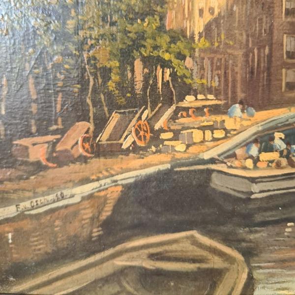 doek, 28 x 39, gezicht op Amsterdam, ges. v. Osch 20