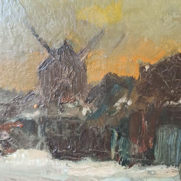 doek, 48 x 38, winterlandschap, gesigneerd Frans de Nocker
