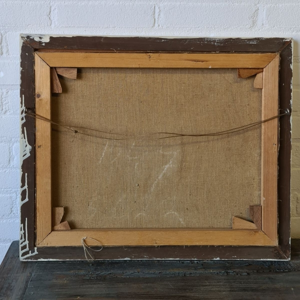 doek, 32 x 45, woning op de dijk, ges. A.G. Mazenaar 1925