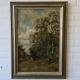 doek, 40 x 60, boerin op bospad, ges. Willem Oppenoorth