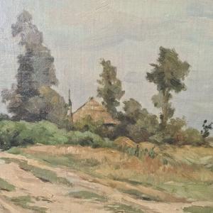 doek, 36 x 59, Hollands landschap met zandpad naar boerderij, gesigneerd Willem Oppenoorth