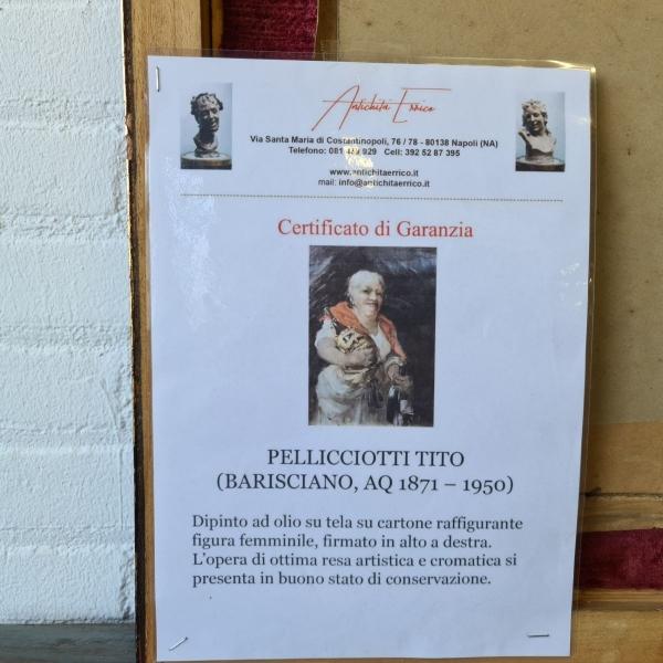 doek, 35 x 25, bardame, ges. (Tito) Pellicciotti met certificaat