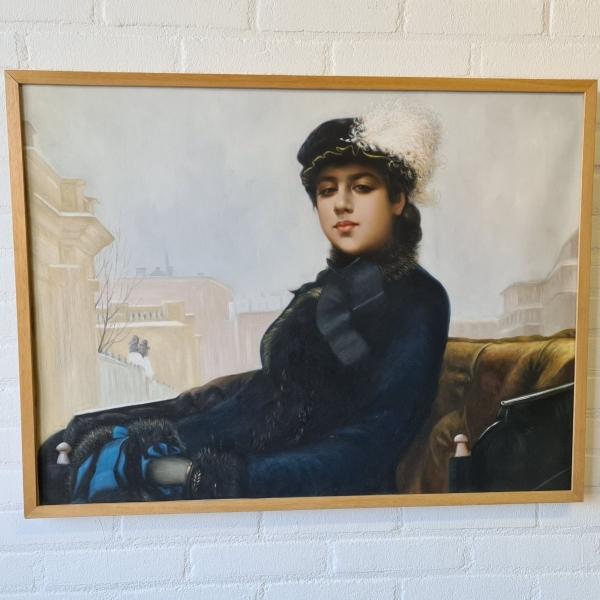 doek, 59 x 79, dame in koets, naar Ivar Kramskoi