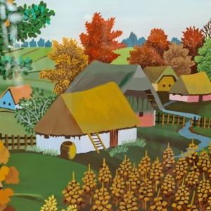 Naive glasbeschildering boerderij, 28 x 40, ges. Ad van Opheusden '86