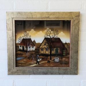 naieve glasbeschildering, 29 x 34, boerderijen, gesigneerd Mitja Rojc 80