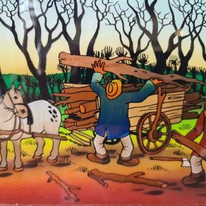 naïeve glasbeschildering, 20 x 17, bedrijvige boeren, ges. Boidar Kosmina