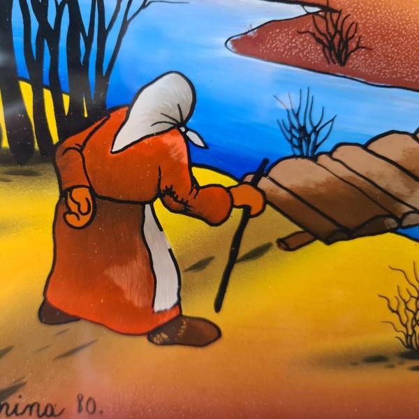 naieve glasbesschildering, 29 x 39, oude dame bij boerderij, gesigneerd Boidar Kosmina