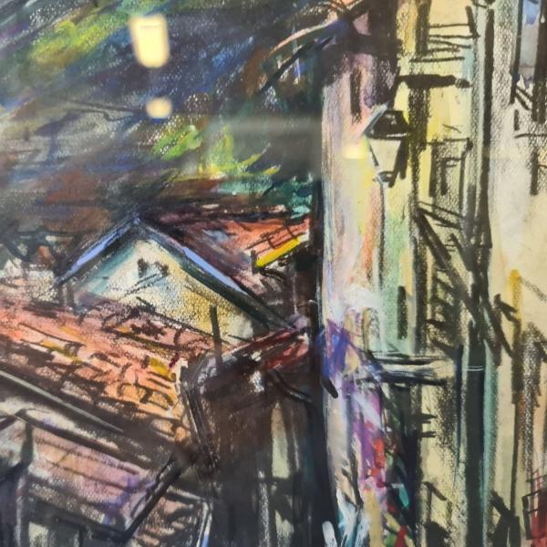 aquarel, 21 x 27, Frans huis, gesigneerd ten Hoope 1982