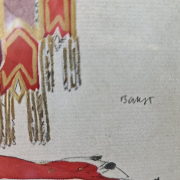 Prachtig werk op papier van aquarel, pencil en goudverf. Leon Bakst 46 x 40