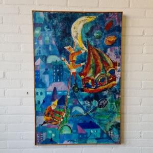 doek, 92 x 60, ''circus voorstelling'', gesigneerd A. Gerz