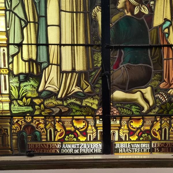 F. Nicolas & zonen glas-in-lood raam 1919 - 213 cm x 135 cm