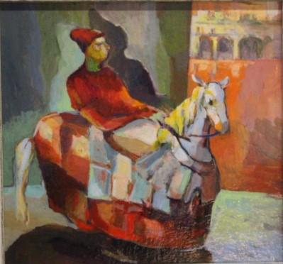 acryl, 17 x 18, ''afspraak in Krakau'', ges. Andrzej Wawrzyniak