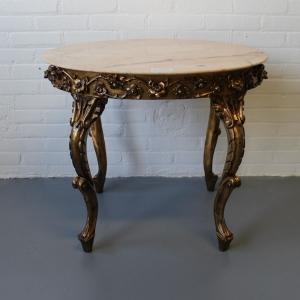 Louis XV-stijl verguld houten salontafeltje met marmer. Diam. 64