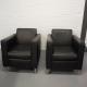 stel Italiaans lederen designer fauteuils. Per fauteuil € 275,-.