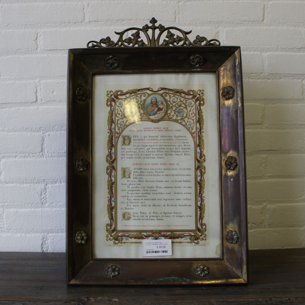 Prachtig ingelijst religieuze prent, laat 19e eeuws 54 x 36