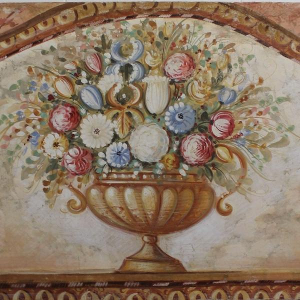 Handbeschilderd doek, 100 x 150, fresco stijl met bloemen