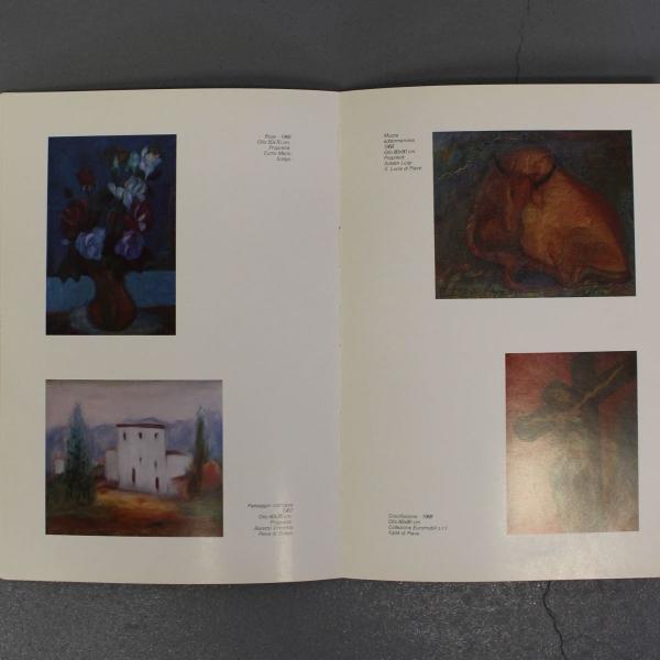 doek, 99 x 69, fleurig bloemstilleven, gesigneerd Donadel met boek