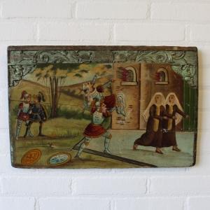 handbeschilderd paneel 19e eeuws. 35 x 53