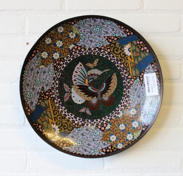 Laat 19e eeuwse cloisonne schotel prachtig decor. Diam. 36 cm